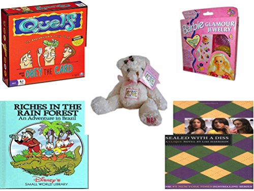 Girl's Gift Bundle - Ages 6-12 [5 Piece] - Quelf Board Game - Barbie Glamour Jewelry Making Kit - USPS Garden Butterfly Bear Love USA 20¢ Stamp - Riches in - Usps Brazil