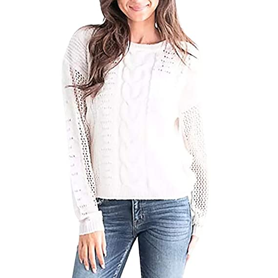 f093f5bcfe6e NINGSANJIN Pull Femme chic top causal couleur unie col rond pulls femme  hiver manches longue top femme T-shirt  Amazon.fr  Epicerie