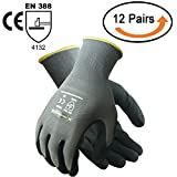 #4: TARANTULA Nitrile Coated Safety Work Gloves for General Purposes, Lightweight Work Gloves, 13 Gauge Mint Green Polyester Shell, Black Sandy Nitrile on Palm and Fingers, 12 Pair Per Pack