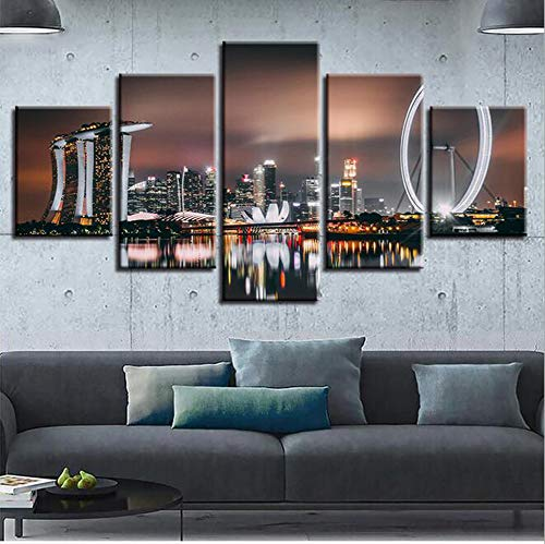 RENHAN Prints On Canvas Image - 5pcs Ferris Wheel Night Scene Inkjet Hanging Painting - Canvas Prints - Wall Pictures - Art Print Images,B,30x40x2+30x60x2+30x80x1