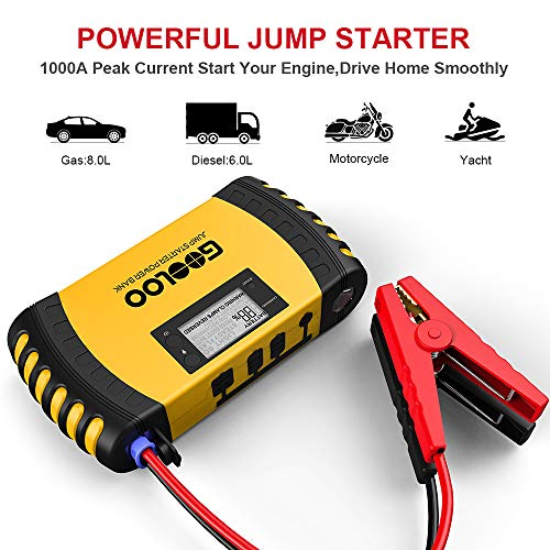 GOOLOO 1000A Peak 20800mAh SuperSafe Car Jump Starter with USB Quick Charge 3.0 (Up to 8.0L Gas, 6.0L Diesel Engine) 12V Auto Battery Booster Portable Charger Power Pack Built-in Smart Protection by GOOLOO (Image #1)