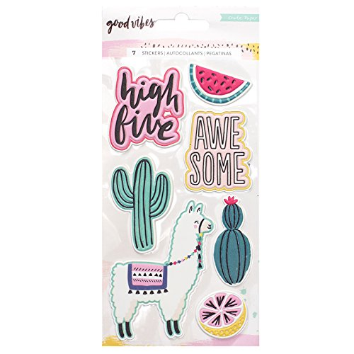 Crate Paper 7 Piece Puffy Embossed Good Vibes Stickers