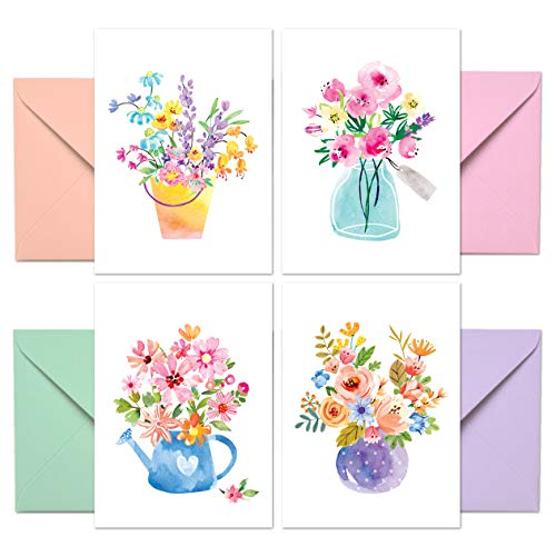 Blank Cards with Envelopes - 48 Floral Blank Note Cards with Envelopes - 4 Assorted Cards for All Occasions! Blank Notecards and Envelopes Stationary Set for Personalized Greeting Cards-4x5.5""