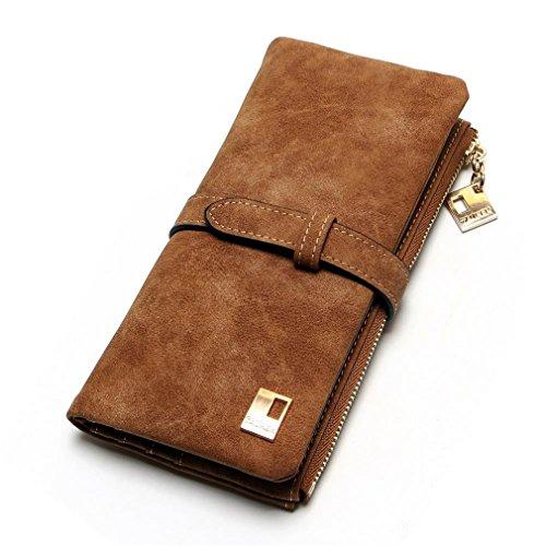 Fold Nubuck Bourse coffee Wallet Mode Embrayage Portefeuilles Deux Zipper Femmes Cuir Haoling Femmes Drawstring Longue v70qnxq6