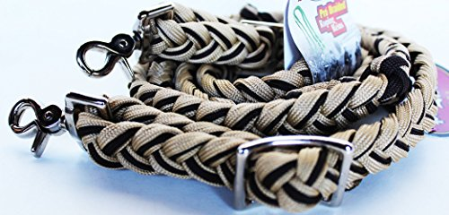 - PRORIDER Horse Roping Knotted Tack Western Barrel Reins Nylon Braided 607480