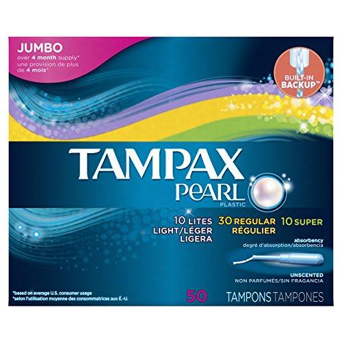 Tampax Pearl Plastic Triple Pack, Light/Regular/Super