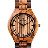 Mens Handmade Wooden Wrist Watch Quartz Bamboo Wood Watches Zebrawood Wristwatch Father's Day Gift for Men