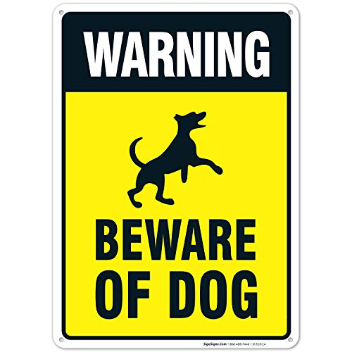 Beware of Dog Sign, Dog Warning Sign, 10x14 Rust Free Heavy 0.40 Aluminum, Long Lasting, Weather/Fade Resistant, Indoor/Outdoor Use, Easy Mounting, Made in USA by SIGO SIGNS