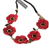 sufias Accessories Poppy Hair Flower Hair Crown Headband Boho Vintage Day Garland Festival Rose Red Each rose: 8cm. Band: 1cm