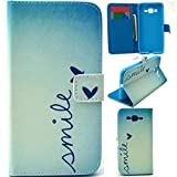 G530 Case,G530H Case,Gift_Source Flip case Pattern Deluxe PU Leather Flip Cover Wallet Stand case with Card Slots For Samsung Galaxy Grand Prime G530H/DS Case (Smile)