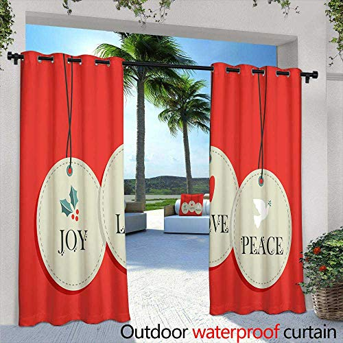 Outdoor- Free Standing Outdoor Privacy Curtain,Halloween Orange and Black Banner with Greetings Happy Halloween,W96 x L96 for Patio Light Block Heat Out Water Proof Drape]()