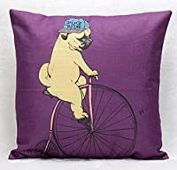 "Cute Cartoon Animal Adorable Riding A Bicycle Cotton Linen Decorative Throw Pillow Case Personalized Cushion Cover Square 18 ""X18 """