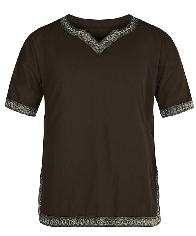 ZXFHZS Mens Solid Color Punk Retro Short Sleeve Medieval V-Neck T-Shirt