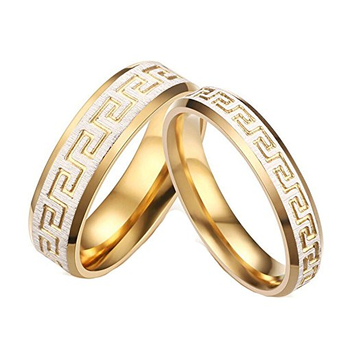 ALBEST Jewelry Men's Titanium Steel Carved the Great Wall Pattern 18k Gold Plated Rings Size 11 (The Walls On Carved)