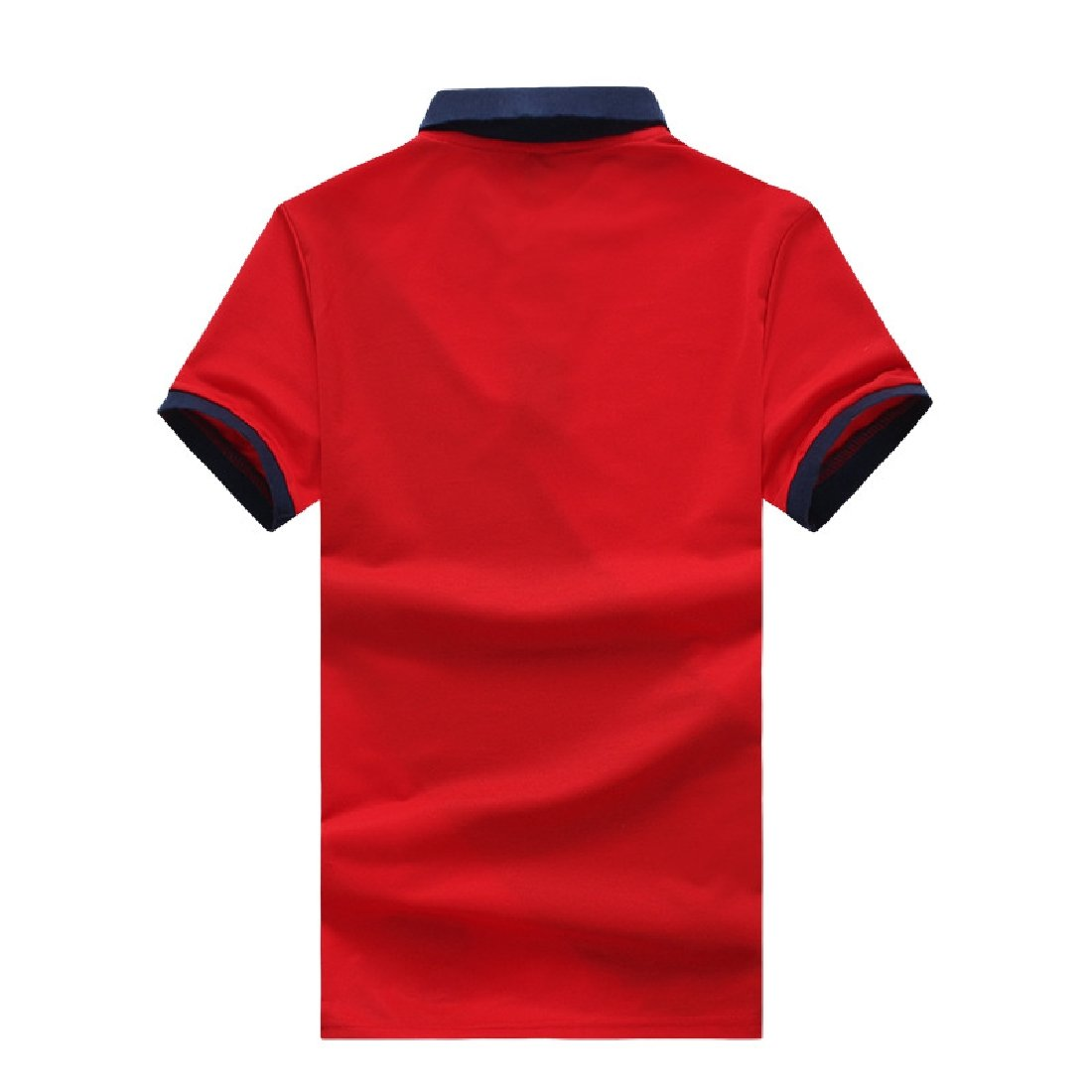 YUNY Mens Summer Short Polo Shirt with Three Colors Combined Fashion Red XS