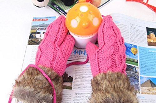 1 Pcs (1-Pair) Tip-top Popular Hot Women's Warm Glove Thermal Warming Soft Feeling Windproof Color Rose Red