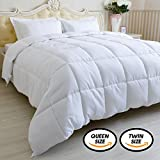 Alternative Comforter - White Twin Comforter Duvet Insert (68x90 inch) - Down Alternative Quilted Comforter - Hypoallergenic - Corner Duvet Tabs - All-Season - Plush Siliconized Fiberfill