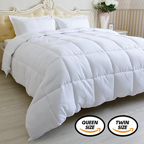 Down Alternative Comforter Twin Size White- Twin Comforter Duvet Insert 68x90 inch - Quilts Twin Size - Bed Comforter Twin - Corner Duvet Tabs - Hypoallergenic - All Season (Size Bed Twin Comforters)