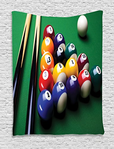 Ambesonne Manly Decor Collection, Billiard Pool Balls Arrangement Snooker Contest Beginning Entertainment Game Picture, Bedroom Living Room Dorm Wall Hanging Tapestry, Green Yellow Red