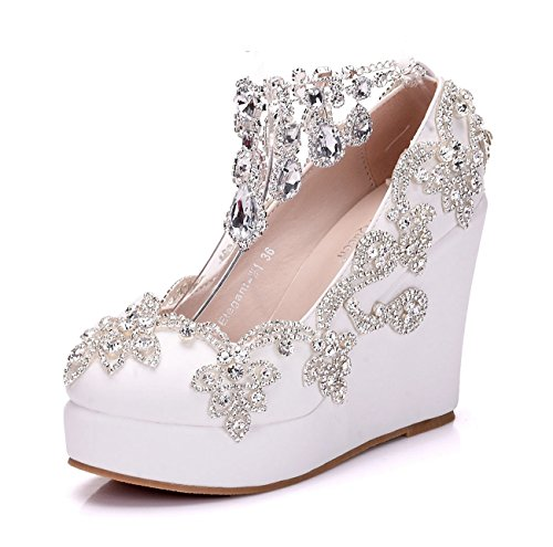 Minitoo Plateau white Heel 35 Bianco Con 12cm Donna Eu rS5wxSqH