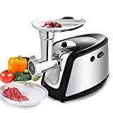 [ US STOCK ] Electric Meat Grinder Sausage Stuffer Maker Mincing Machine Heavy Duty 3 Grinding Plates Stainless Steel Cutting Blade (Silver)