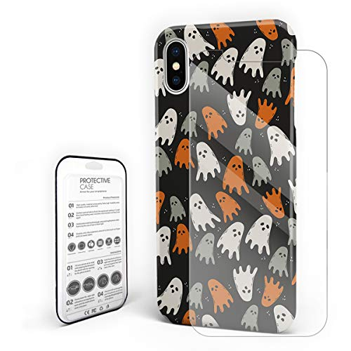 Cases Cover for iPhone X [Built-in Screen Protector] Slim Fit Hard Plastic Shell Full Protective Anti-Scratch Fingerprint Cover for Apple Phone 5.8 Inch - Happy Halloween Cute Ghost