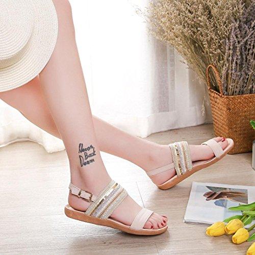Lolittas Damen Boho offener mit weitem Knöchelriemen Summer flachem und für Zehe Beach Schnitt Sandalen verziert mit CrwxgXrqn