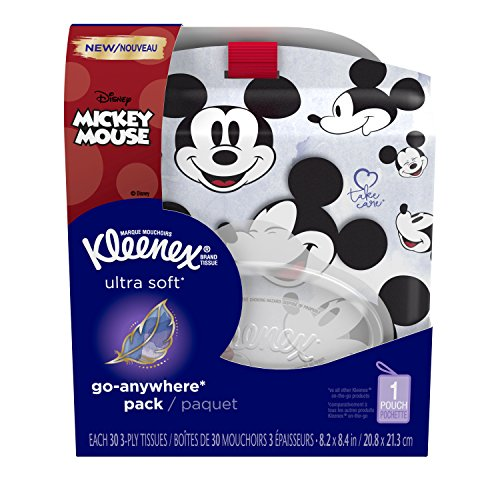 - Kleenex Ultra Soft Go Anywhere Clip-On Facial Tissues with Mickey Mouse Holder, 30 count (Pack of 10) (Designs May Vary)