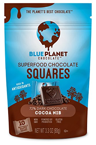 Blue Planet Chocolate Cocoa Nib Superfood Chocolate Squares with Probiotics (Pack of - Planet Blue Foods
