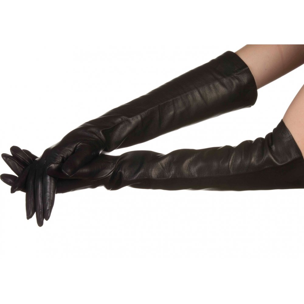 Lundorf Women's Victoria Long Gloves Italian Leather Silk Lined 8.5 Black by Lundorf