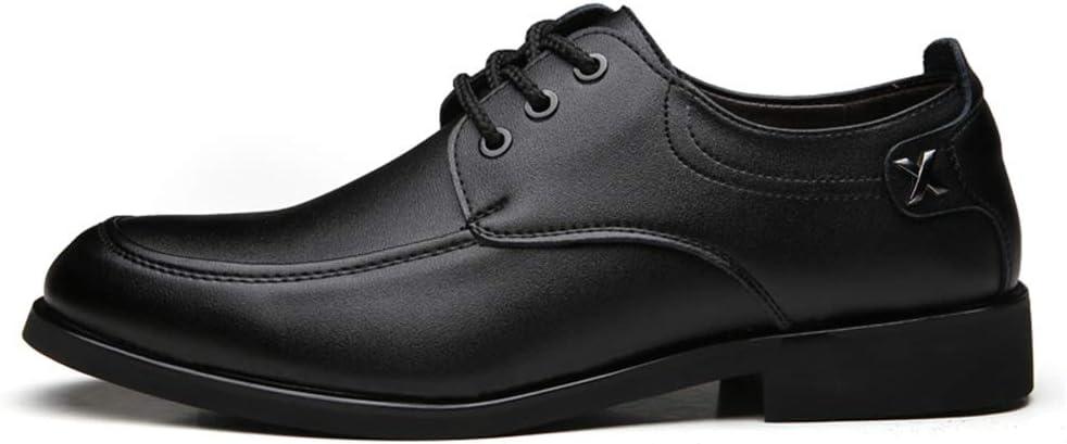 DADIJIER Chaussures Oxford pour Hommes Chaussures Formelles /à Lacets Style Ox Cuir Classique Pure Color Fashion Logo R/ésistant /à labrasion Color : Marron, Taille : 38 EU