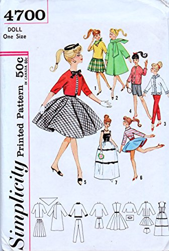 Tin 1960s - Simplicity 4700 , Sewing Pattern 1960s , Atlantic City Weekend Wardrobe for Teen Model Dolls, Babette, Mitzi, Gina, Babs, Kay , Polly Jr., Tina, Tina Marie, and Barbie , Size 11 1/2