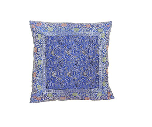 ShalinIndia Poly Tanchoi Cushion Cover with Zari Brocade Border - Set of 4 Throw Pillow Covers - Zip Closure - 16 x 16 Inches (Poly Brocade)