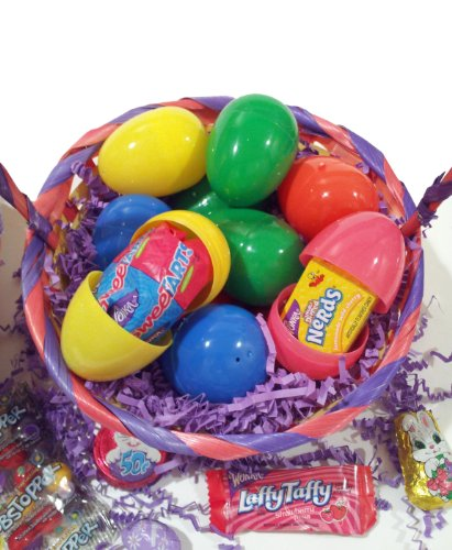 Eggs w Mixed Brand Name Candies, Chocolates & Toys (Multicolored Easter Eggs)
