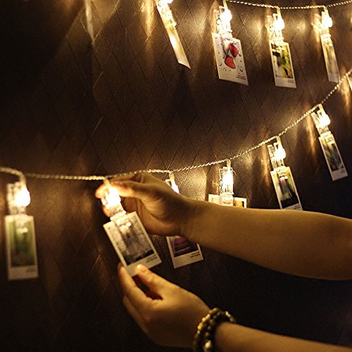 Shimmer Forest 50 LED Photo Hanging Clips String Light, 26.25ft USB Powered Photo Display Starry Light, for Hang Pictures Cards Notes, Warm White - Perfect for Hanging Pictures, Notes, Artwork