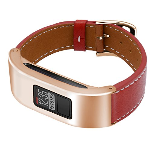 C2D JOY for Garmin Vivofit 3/JR Case Leather Bands - Metal Steel Case with Leather Bands Only for Garmin Vivofit 3 and Vivofit Jr Red (5.9-8.2in)