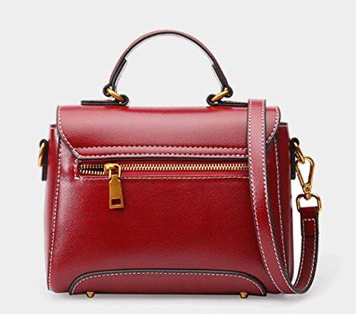 GKKXUE Bolso de mano de cuero de las mujeres Bolso de mensajero de hombro de cuero de la vendimia Bolso pequeño de la moda de Europa y América (Color : Rojo) Negro