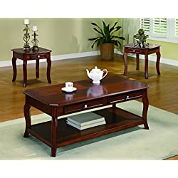 Coaster Transitional Three Piece Occasional Table Set with Parquet Top