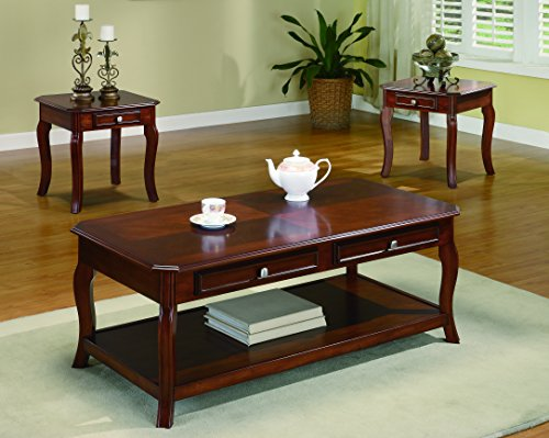 3-piece Occasional Table Set with Parquet Top Warm Light Bourbon