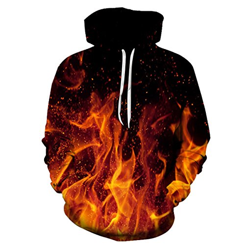 Fire Design (Unisex Cool Realistic 3D Digital Print Pullover Hoodie Hooded Sweatshirt For Men For Women & 30 Styles Optional (Fire, Small/Medium))