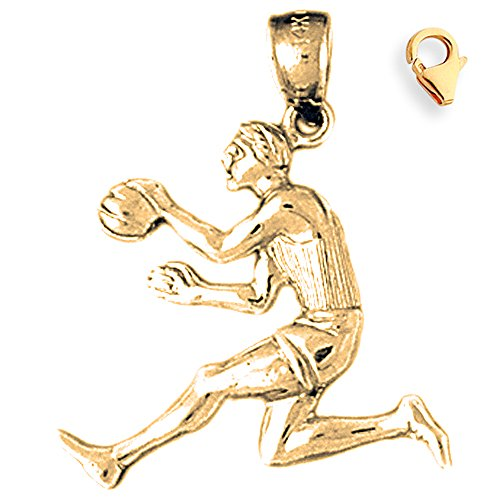 Basketball Player Charm Gold Plated - Gold-Plated 925 Silver 27mm Basketball Player 8.25