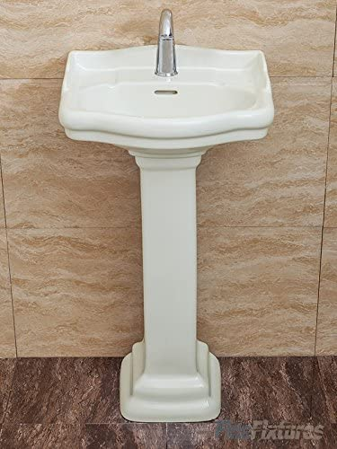 Fine Fixtures, Roosevelt Biscuit Pedestal Sink – 18 Inch Vitreous China Ceramic Material Single Hole