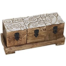 Tree of Life Set of 3 Wood Tea Box with Tray Boxes Wooden TB-01