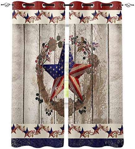 BMALL Grommet Window Curtains Panels Patriotic Stars and Primitive Berries on Country Wooden Plank Window Curtain 2 Panels
