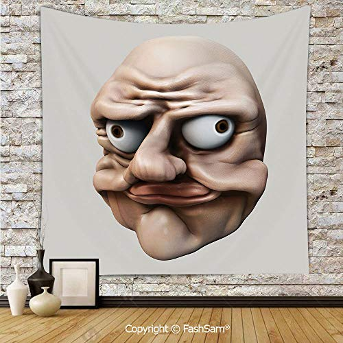 Tapestry Wall Hanging Grumpy Internet Troll Face with Trippy Gestures Ugly Post Meme Joke Image Decorative Tapestries Dorm Living Room Bedroom(W51xL59) -