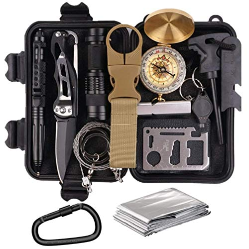 KEPEAK Outdoor Emergency Survival Kit, 14 in 1 Survival Gear Kit for Camping, Hiking, Wilderness and Adventure
