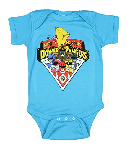 Mighty Morphin Power Rangers Triangle Group Baby Romper Snapsuit (6-12 (Power Rangers Megaforce Suit)