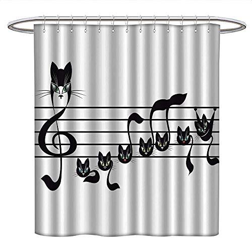 Anniutwo Music Decor Collectionkids Shower curtainNotes Kittens Cat Artwork Notation Tune Children Halloween Style PatternRound Shower Curtain rodBlack Green Blue -