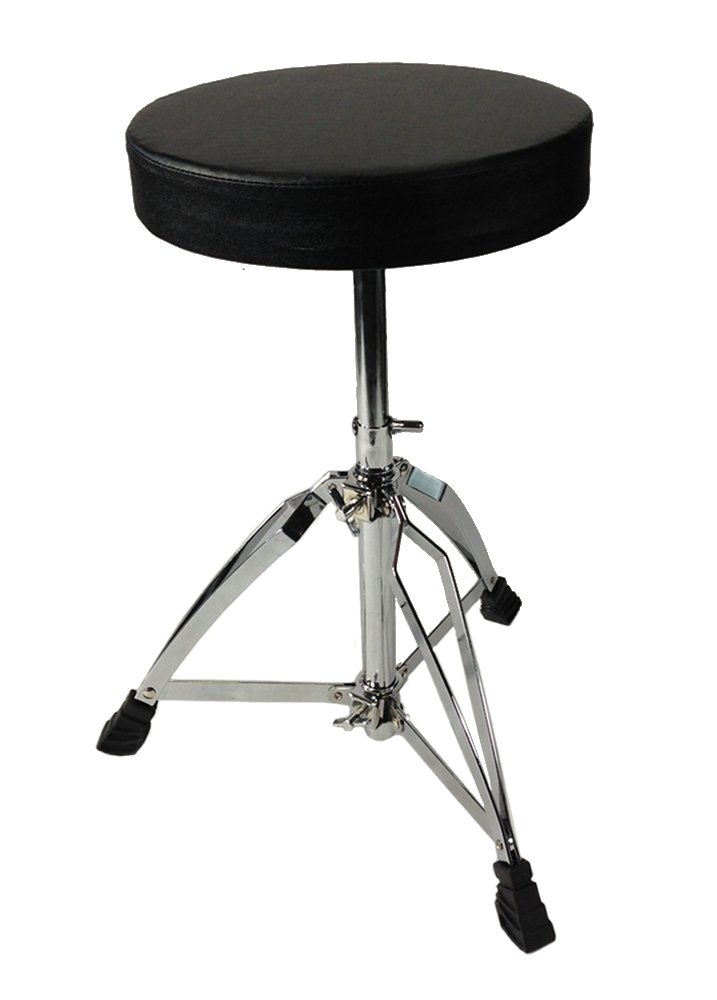Drum Throne - Chrome Heavy Duty Double Braced Adjustable Round Swivel Seat Stool