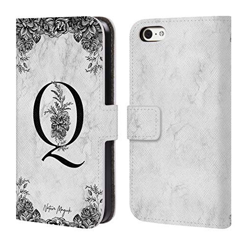 Official Nature Magick Letter Q B&W Marble Monogram 2 Leather Book Wallet Case Cover Compatible for iPhone 5c